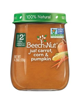 Beech Nut Naturals Stage 2 Just Carrot, Corn & Pumpkin Baby Food, 4.0 Oz, (Pack Of 10) by Beech Nut