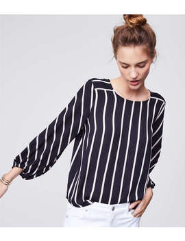 Petite Mixed Stripe Fluid Blouse by Loft