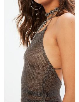 Silver Chain Strap Detail Metallic Knitted Dress by Missguided