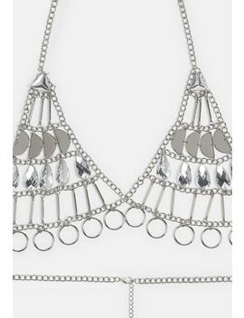 Silver Gem Metal Detail Chain Bra by Missguided