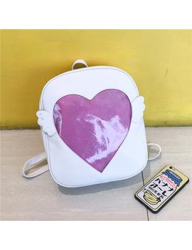 Msmo 'ita Bag' Glitter Clear Flap Wing Backpack Japan Harajuku Girls Kawaii Bling Transparent Love School Bag Gift by Msmo Store