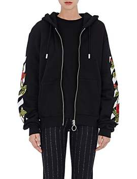 Rose & Striped Embroidered Fleece Zip Front Hoodie by Off White C/O Virgil Abloh