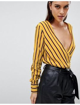 Y.A.S Striped Wrap Blouse by Y.A.S.