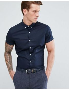 Asos Slim Shirt In Navy With Short Sleeves And Button Down Collar by Asos