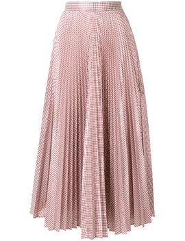 Metallic Gingham Pleated Midi Skirt by Christopher Kane