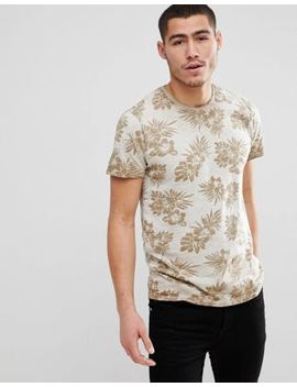 Solid Slub T Shirt With Tropical Floral Print by Solid