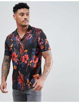 River Island Regular Fit Fish Print Shirt With Revere Collar In Black by River Island