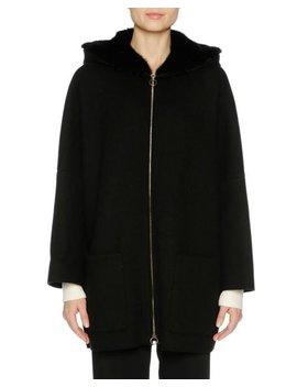 Cashmere Zip Front Parka With Mink Fur Hood, Black by Agnona