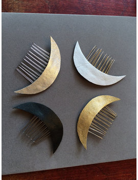 Leather Crescent Moon Celestial Hair Comb by Etsy