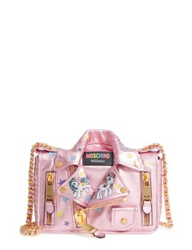 X My Little Pony Biker Jacket Metallic Leather Crossbody Bag by Moschino