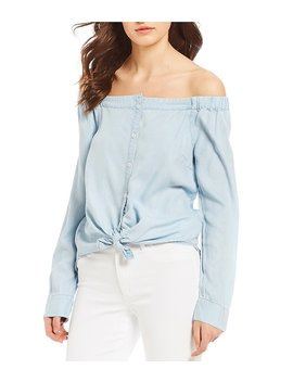 Sanctuary In Bloom Chambray Off The Shoulder Shirt by Sanctuary