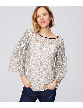 Floral Lace Smocked Sleeve Top by Loft