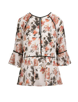 3/4 Sleeve Floral Peplum Top by Ricki's