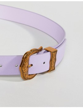 Asos Lilac Western Belt With Old Gold Buckle by Asos Collection
