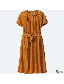 Women U Cotton Linen Flared Short Sleeve Dress by Uniqlo