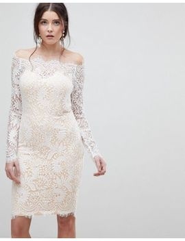 Lioness Bardot Allover Lace Midi Dress by Lioness