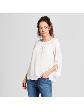 Women's Button Sleeve Blouse   Zac And Rachel   Cream by Zac & Rachel