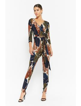 Leaf Print Surplice Jumpsuit by F21 Contemporary