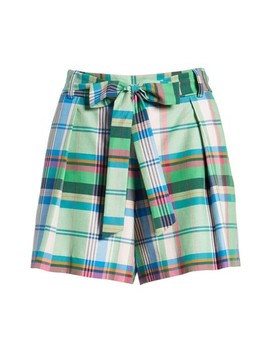 Pleated Plaid Shorts by 1901