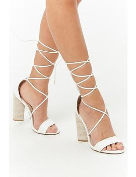 Qupid Lace Up Ankle Wrap Heels by Forever 21