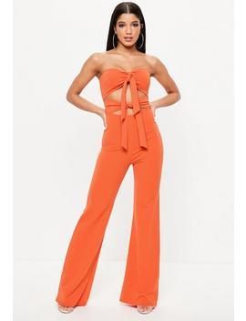Orange Tie Front Jumpsuit by Missguided