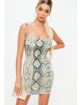 Petite Beige Snake Print Cowl Dress by Missguided