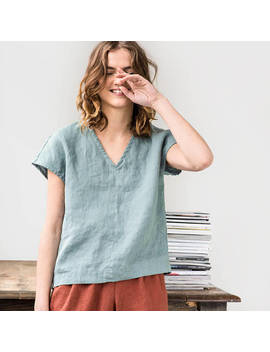 Linen Top In V Neck Malta / Washed Linen Shirt / Available In 34 Colors by Etsy