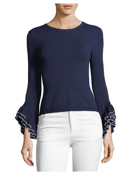 Layered Ruffle Sleeve Pullover Top by Milly