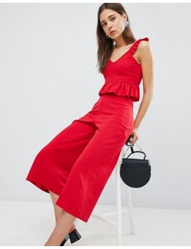 New Look Frill Crop Top & Wide Leg Culottes Co Ord by Asos Brand