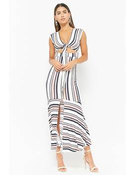 Striped Tie Front Maxi Dress by Forever 21