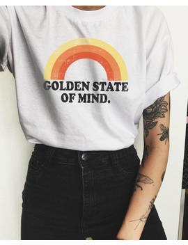 Golden Shirt, Rainbow Shirt, Vintage Tee, Hipster Clothing, Womens Graphic Tee, Tumblr Shirt, Vintage Shirt, Golden State Of Mind by Etsy