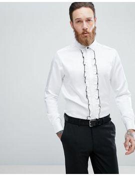 Asos Design Wedding Regular Fit Shirt With Ruffled Bib by Asos