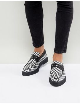 Asos Loafers In Black And White Check Print With Creeper Sole by Asos Design