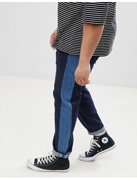 Asos Design Plus Slim Jeans In Indigo With Side Stripe Insert by Asos Design