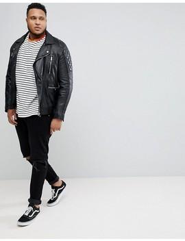 Asos Plus Striped Oversized Sweatshirt In Black & White by Asos