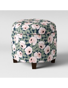 Trappe Round Storage Ottoman Floral Rose Print   Threshold™ by Threshold™