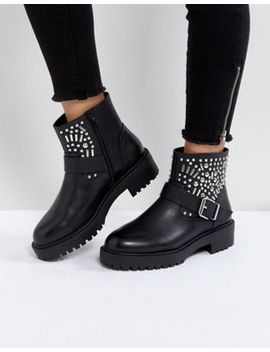 Asos Apt Studded Biker Boots by Asos Collection