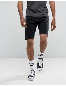 Pull&Bear Raw Hem Denim Shorts In Black by Pull&Bear