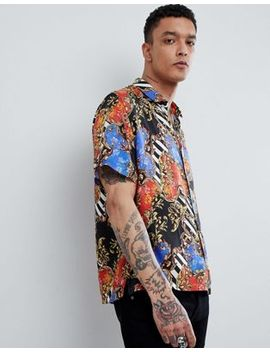 Asos Design Oversized Chain Print Shirt With Revere Collar by Asos Design