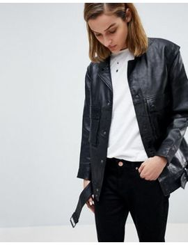 Moss Copenhagen Premium Leather Jacket With Pocket & Belt Detail by Moss Copenhagen