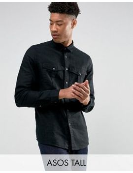 Asos Tall Linen Mix Overshirt With Poppers by Asos