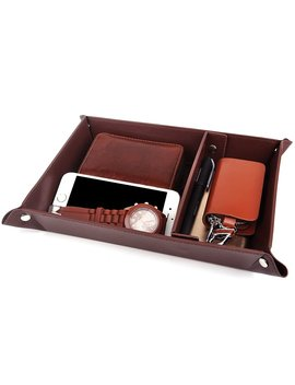 Valet Tray Jewelry Organizer,Pu Leather Watch Box Coin Change Key Tray For Storage Coffee by Spsheng