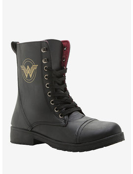 Dc Comics Wonder Woman Logo Combat Boot by Hot Topic