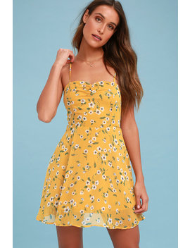Daisies Go By Mustard Yellow Floral Print Dress by Lulus