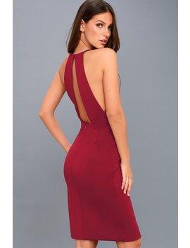 Elin Burgundy Backless Midi Dress by Lulus