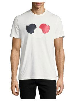 Tricolor Logo Cotton Crewneck T Shirt by Moncler
