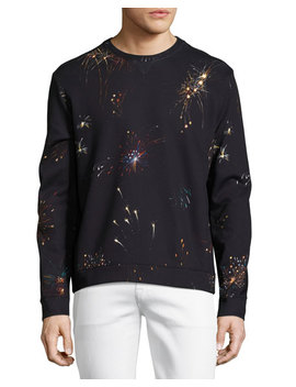 Fireworks Neoprene Sweatshirt, Navy by Valentino