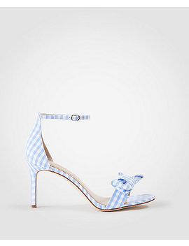 Kinsley Gingham Bow Heeled Sandals by Ann Taylor
