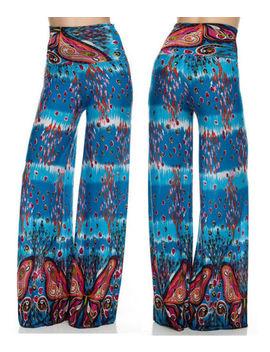 New Boho Print Palazzo Pants High Waist Yoga Foldover Band Wide Legs Usa S M L by Slits&Amp;Stripes