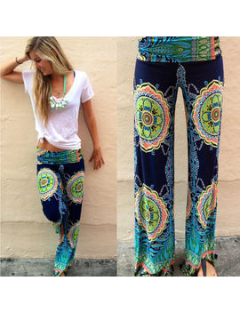 Womens Boho Palazzo Long Pants Beach Wide Leg Yoga Baggy Loose Harem Trousers by Unbranded
